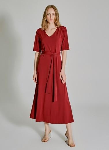 People By Fabrika Bağlama Detaylı V Yakalı Elbise Bordo